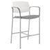 Upland Bar Stool with Arms, Wide, Uph Seat, Plastic Back