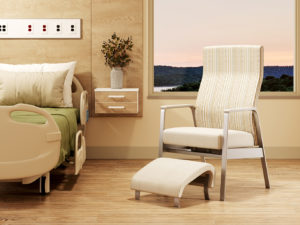 Hale Motion Chair, shown with Full Cap Arm Cap; Fabrics: Architex Divison Noble Square on back and Architex Happy Cloud Nine on seat and ottoman